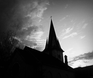 black and white, church, and Darkness image