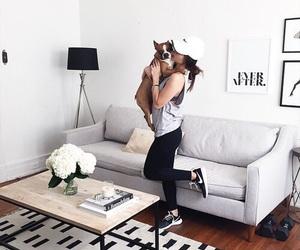 girl, dog, and style image