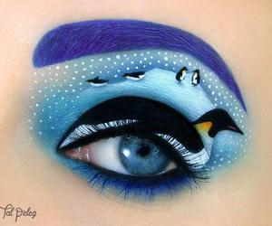 penguin, makeup, and eyes image