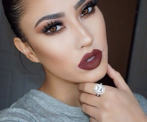 beautiful, makeup, and red lips image