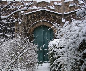 snow, winter, and door image