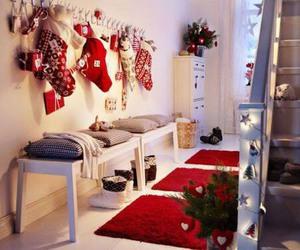 christmas, stockings, and red image