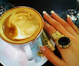 ring, nails, and coffee image
