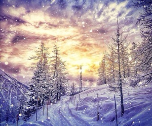 snow, sunset, and trees image