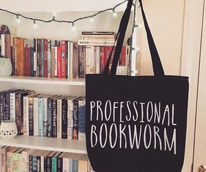 bag, bookcase, and books image