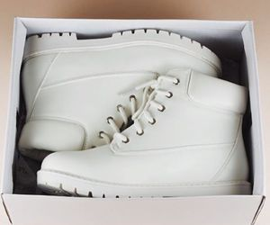 white, white boots, and desert boots image