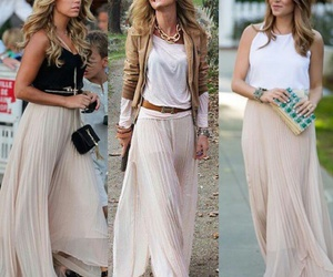 long skirt, pink skirt, and womens style image