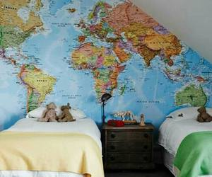 bedroom, world, and map image