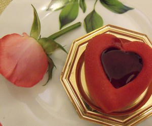 cake, heart, and rose image