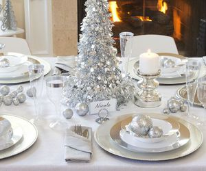 christmas, dinner table, and silver image