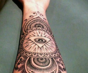 tattoo, eye, and arm image