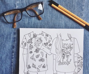 drawing, art, and outline image