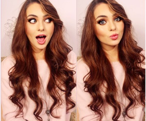 brunette, hair, and pink image
