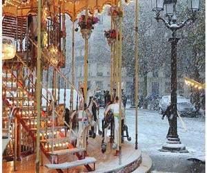 snow, winter, and carousel image
