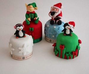 cake, christmas, and santa image