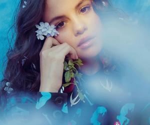 blue, flowers, and selena gomez image