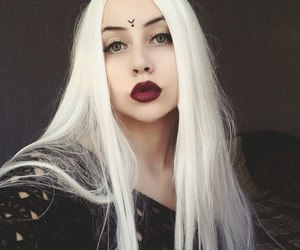 beauty, big eyes, and colored hair image