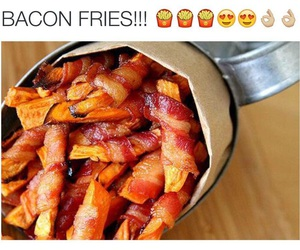 food, yummy, and bacon fries image