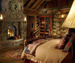 bedroom, home, and cabin image
