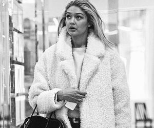 black and white, coat, and fashion image