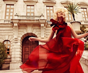 red, dress, and blonde image