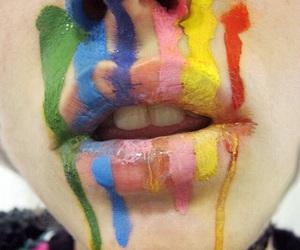 lips, rainbow, and art image