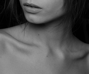 black and white, collar bones, and body image