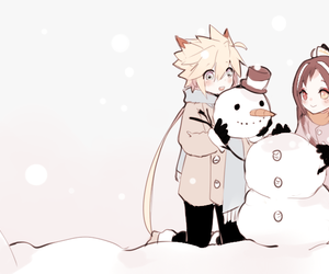 snowman and anime girl cute image