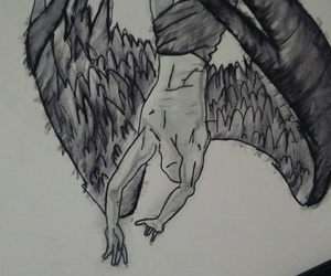 art, charcoal, and fallen angel image
