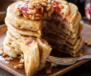 breakfast, jam, and pancakes image