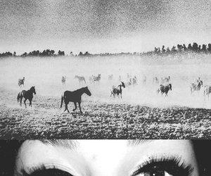black and white, black eyes, and eyeliner image