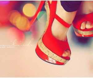 heels, high heels, and red shoes image