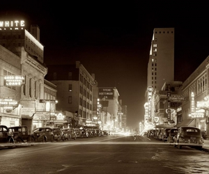 black and white, street, and night image