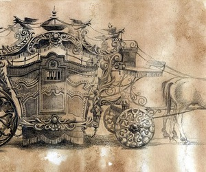 carriage, drawing, and horse image