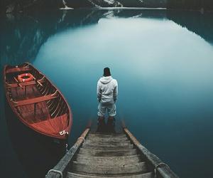 lake, mountains, and boat image