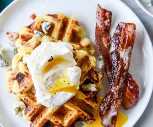 bacon, waffles, and breakfast image