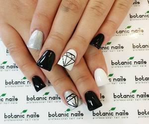 black nails, diamond, and glitter image