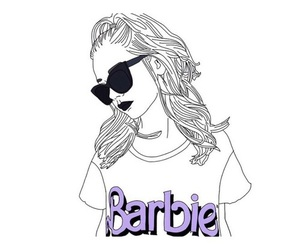 barbie, art, and black and white image