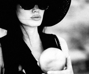 Angelina Jolie, baby, and black and white image