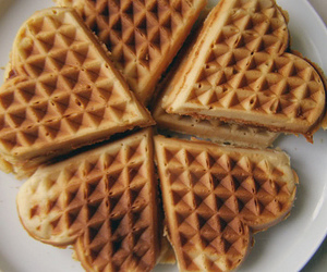 food, waffles, and heart image
