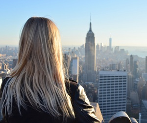 blond, empire state, and girl image
