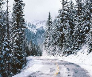 winter, mountains, and road image