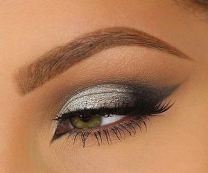 cat eye, eyebrows, and glam image