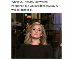 Adele, funny, and lies image