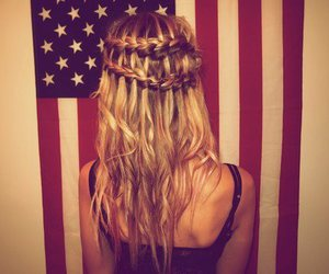blonde, braid, and flag image