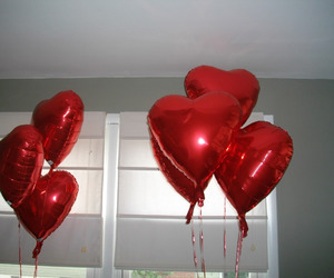 red, heart, and balloons image