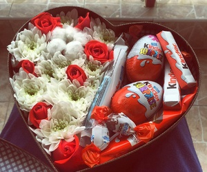 gift, chocolate, and flowers image