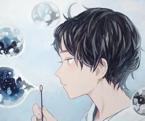 bubbles, anime, and boy image