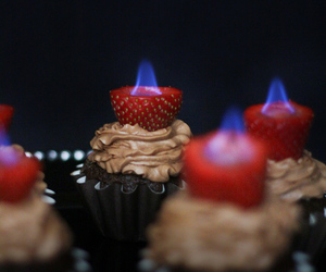 cupcake, flames, and muffin image