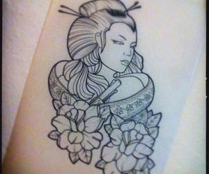 geisha tattoo, geisha, and tattoo image